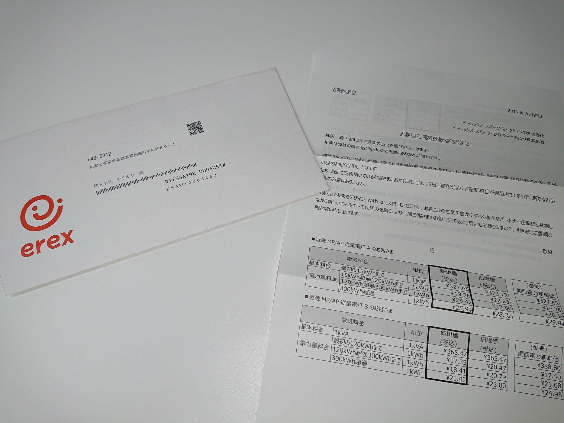 近畿エリア電気料金改定のお知らせ